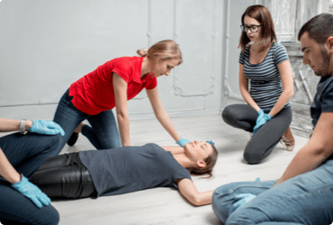 Employees participate in an Emergency First Aid and CPR course