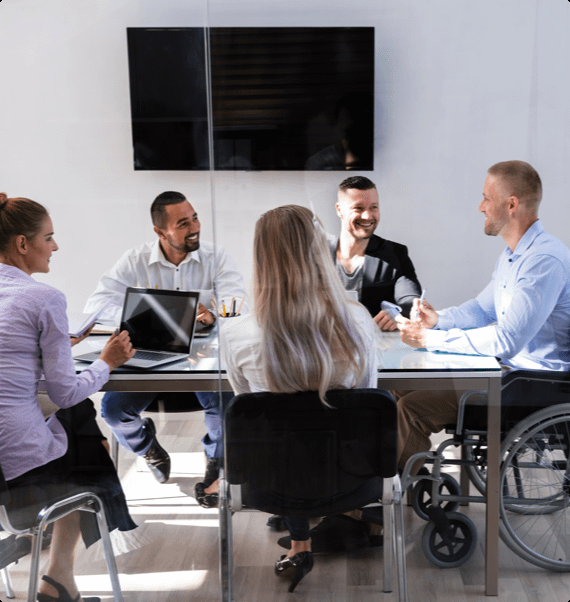 Employees during a disability management session