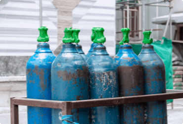 Propane cylinders are safely stored at a worksite
