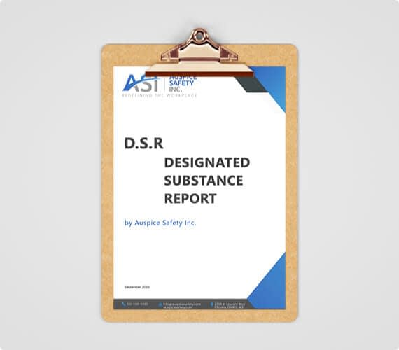 A clipboard with a designated substance report