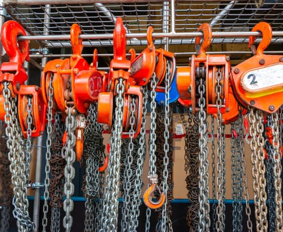 metal chains in line for hoisting & rigging